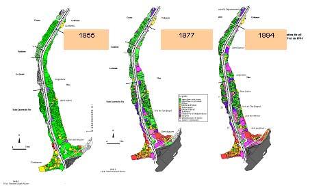 Evolution occupation des sols dans la basse vallée du Var: urbanisation et industrialisation